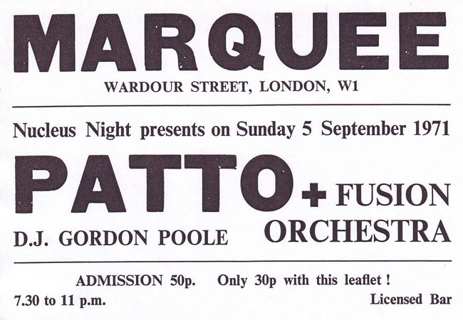 Marquee Club Patto and Fusion Orchestra